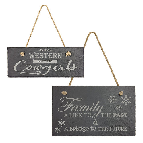 Slate Rectangle Decor with Hanging String