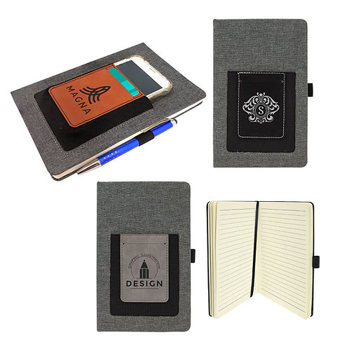 "5 1/4"" x 8 1/4"" Laserable Leatherette Journal with Cell/Card Slot"