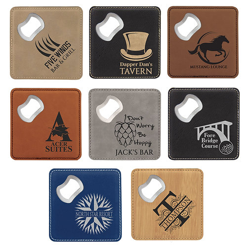 Square Laserable Leatherette Bottle Opener Coaster