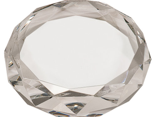 Round Crystal Paperweight with Facets