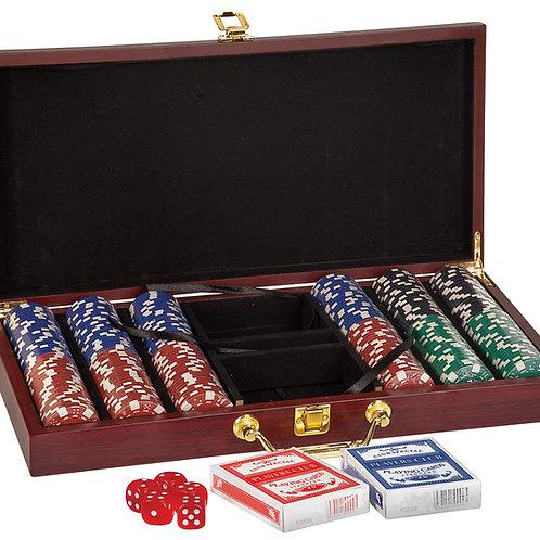 Rosewood Finish 300 Chip Poker Set
