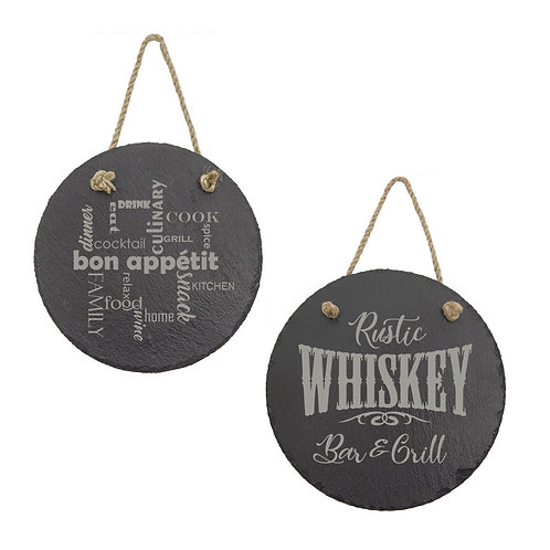 Slate Round Decor with Hanging String