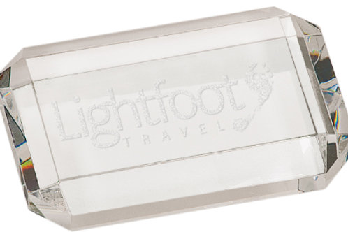Crystal Rectangle Paperweight with Clipped Corners