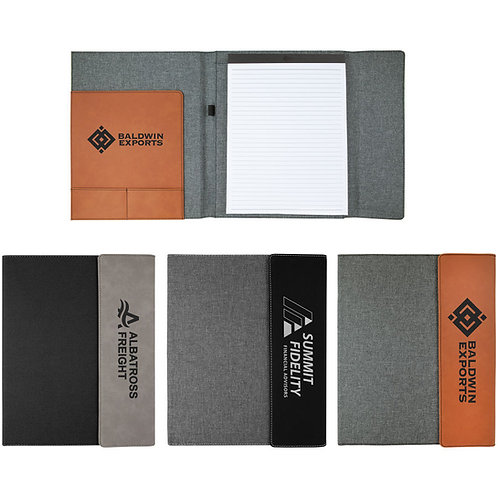 "9 1/2"" x 12"" Laserable Leatherette w/Canvas Portfolio with Notepad"