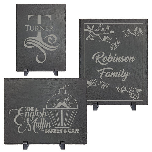 Slate Rectangle Decor with Foam Pads and Stands
