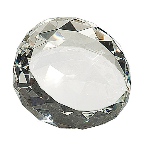 Round Angled Crystal Facet Paperweight