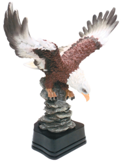 """10 1/2"""" Hand Painted Eagle Resin with Base"""