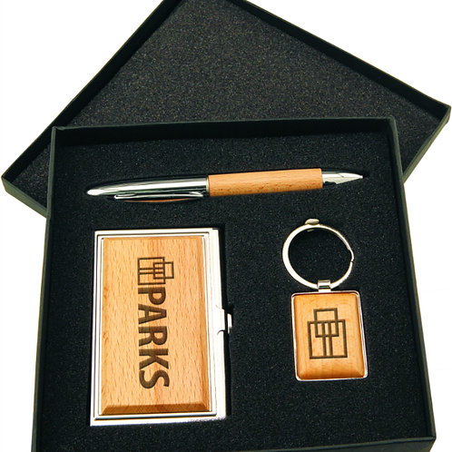 Silver & Wood Gift Set with Card Case, Pen & Keychain