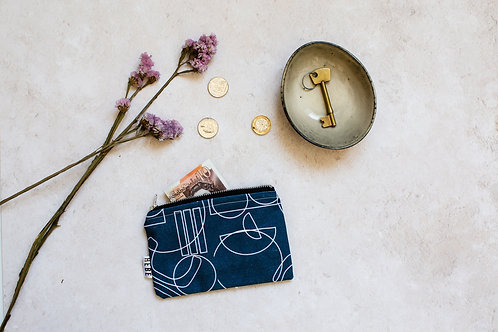Navy Lines Coin Purse