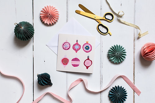 Pink Baubles card