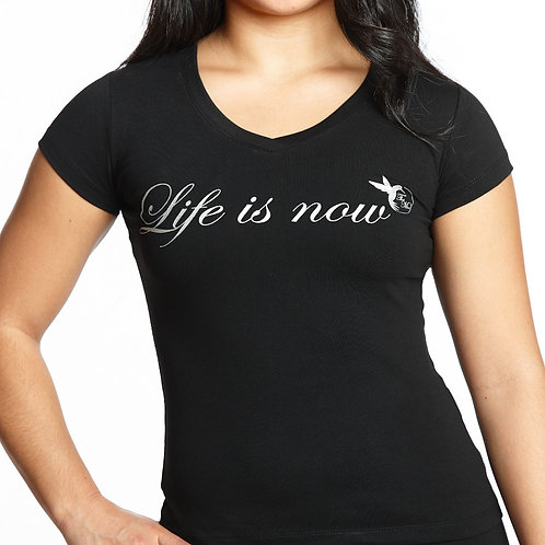 Silver V-Neck T-Shirt for Woman