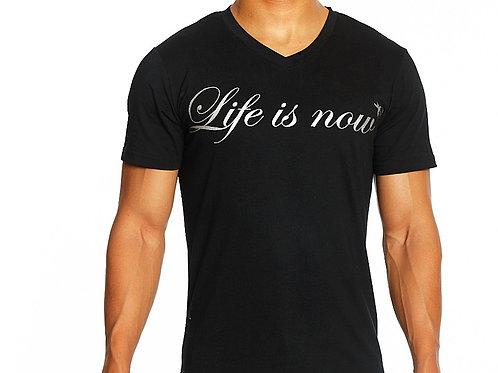 Silver V-Neck T-Shirt for Men
