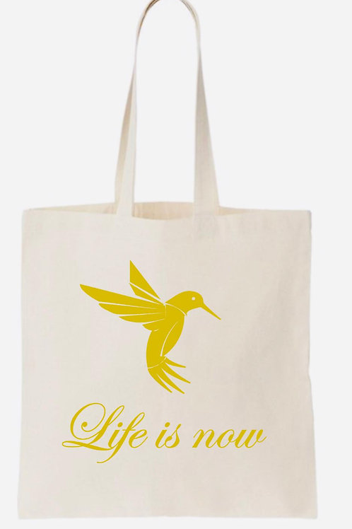 Beige Tote bag -  with gold print