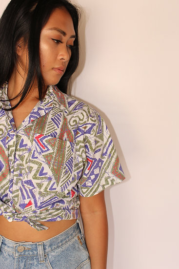 80's Abstract Button Up