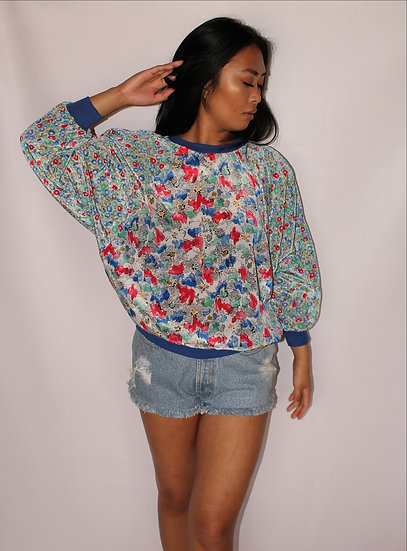 Batwing Floral Sweater