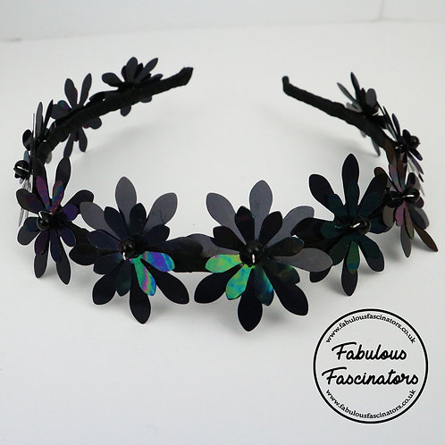 BRIALLEN - Black Metallic Flower Hairband