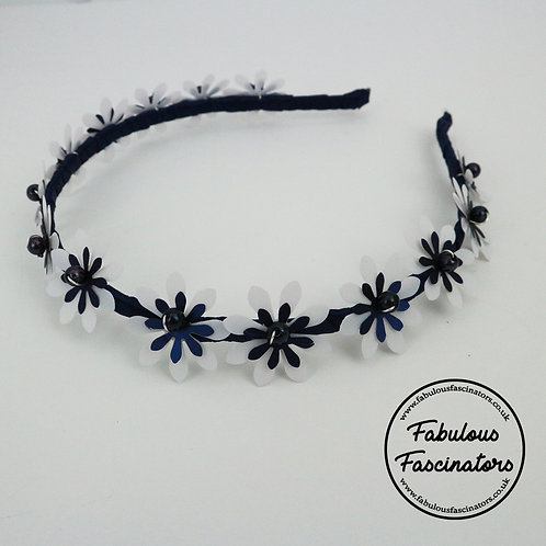 MENYN Navy and White Metallic Flower Hairband