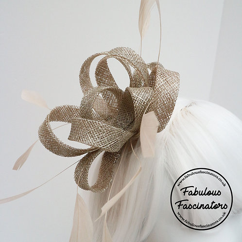 AURES Champagne Gold Small Fascinator