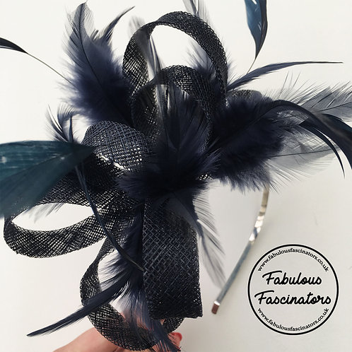 PETRA Dark Navy Fascinator