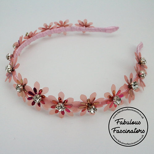 MENYN Pink Metallic Flower Hairband