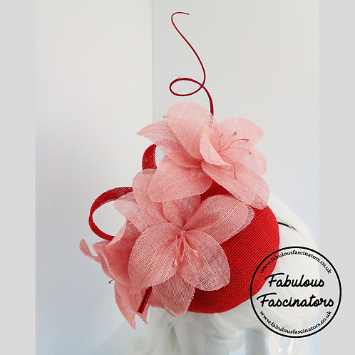 LONA Red and Pink Button Fascinator