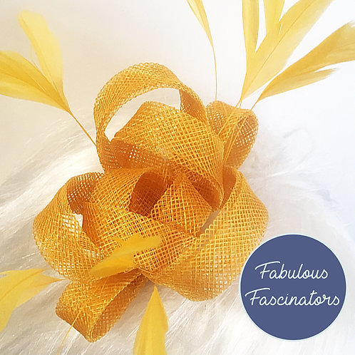 AURES Small Yellow Fascinator