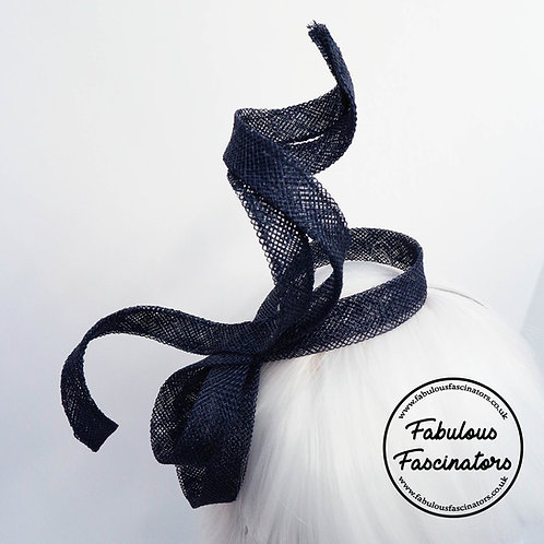 OLWEN Navy Swirl Fascinator
