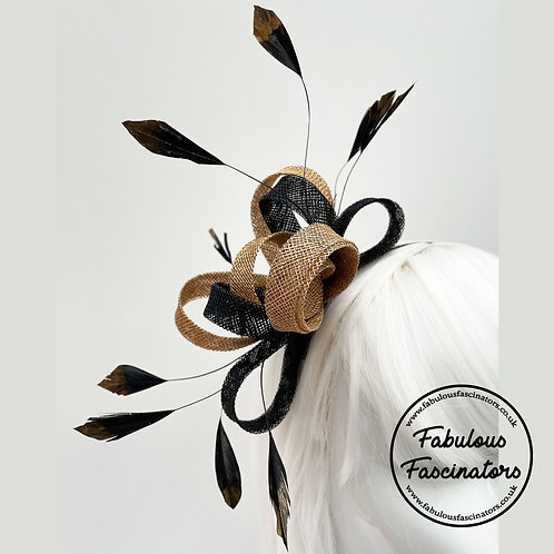 AURES Black and Gold Small Fascinator with Feathers