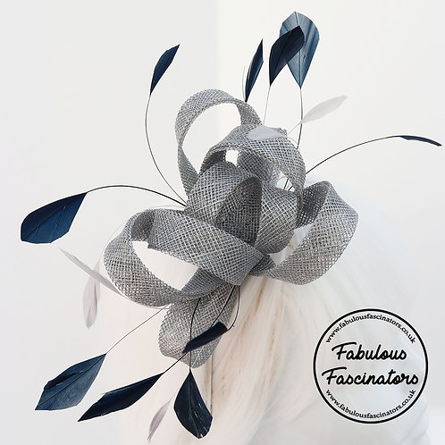 AURES Silver and Navy Small Fascinator