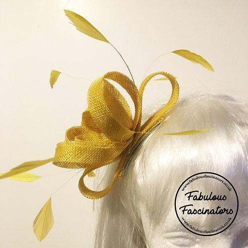 AURES Lemon Yellow Fascinator