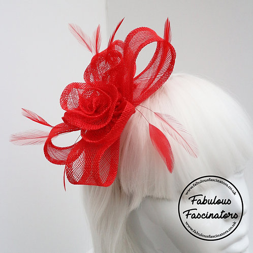 MORWEN Small Red Fascinator