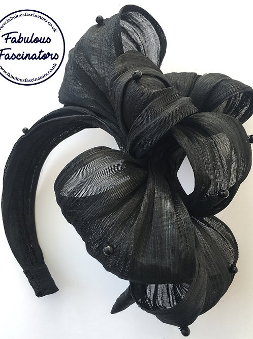 ENID Black Silk Fascinator Hairband