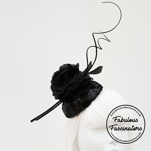 SIONED Black Sequin Button Fascinator