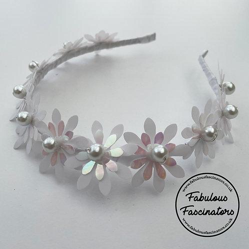BRIALLEN - White Metallic Flower Hairband
