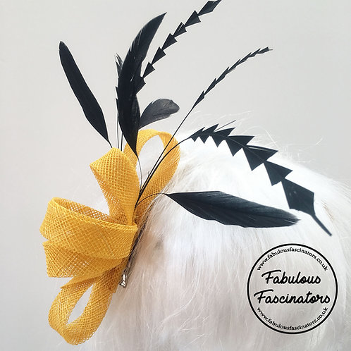 DELIA Yellow Zig Zag Fascinator