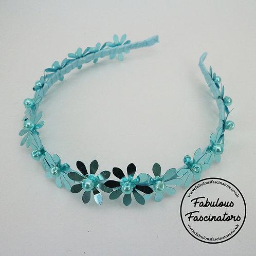 MENYN Blue Metallic Flower Hairband