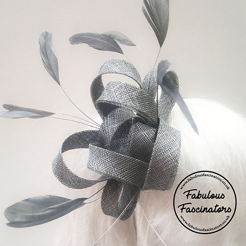 AURES Small Silver Fascinator