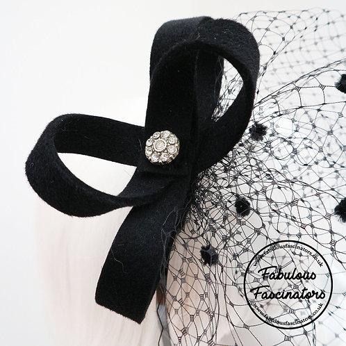 OSIAN black fascinator with detachable veil