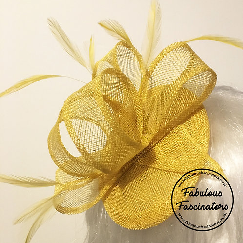 TAFFY Lemon Yellow Fascinator