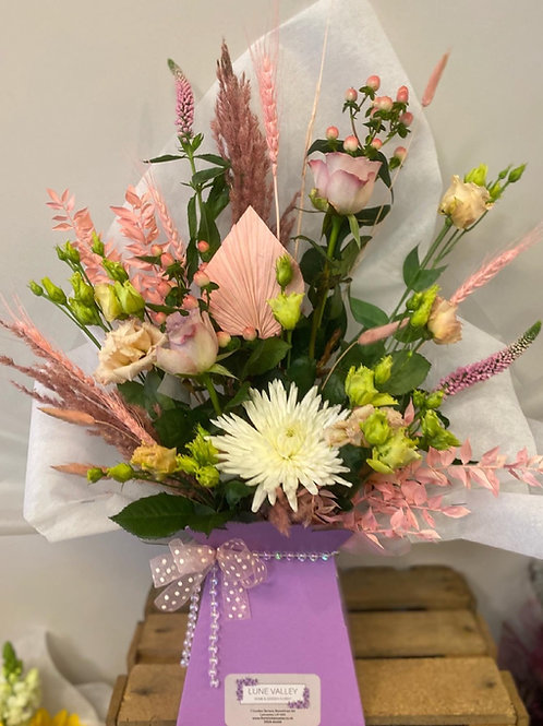 Pink Pampas and Fresh Flower Arrangement