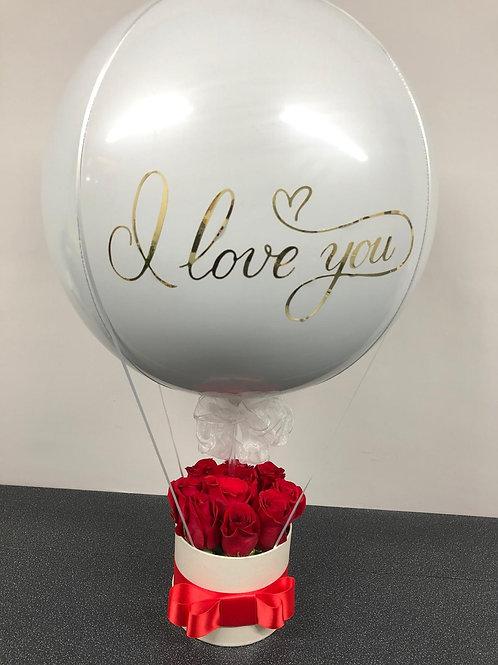 Valentine Balloon and Rose Hatbox