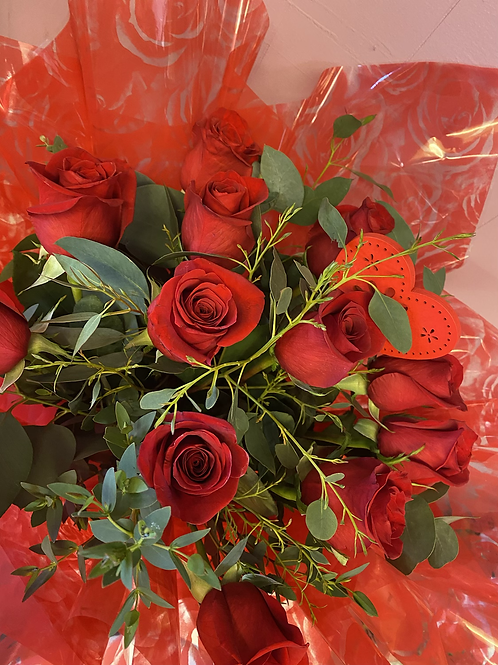 Dozen Red Roses Foliage Hand-Tied in a Box