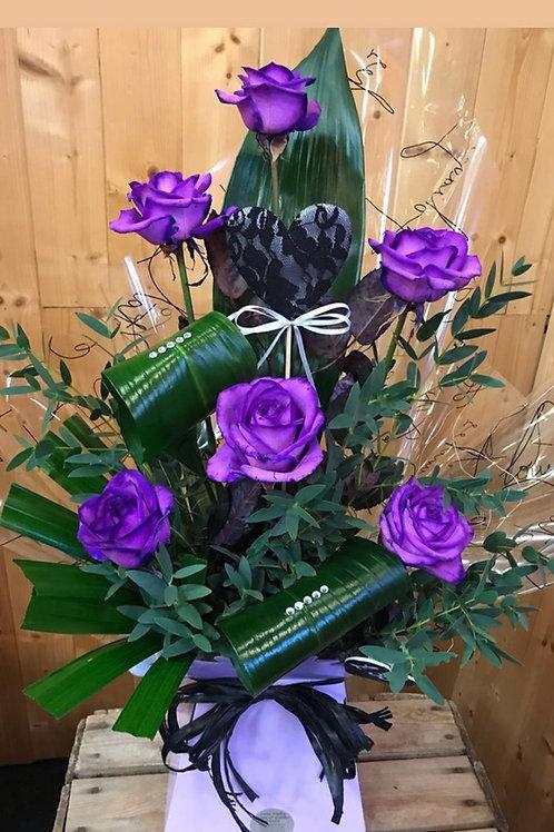 6 Purple Rose Modern Arrangement