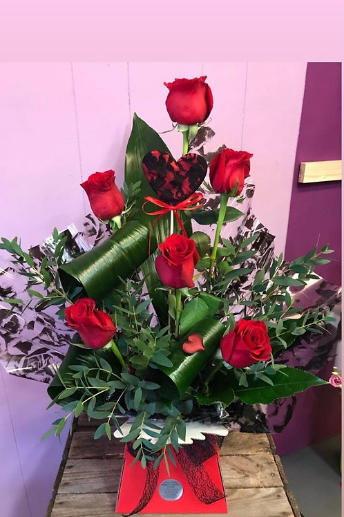 6 Red Rose Modern Arrangement