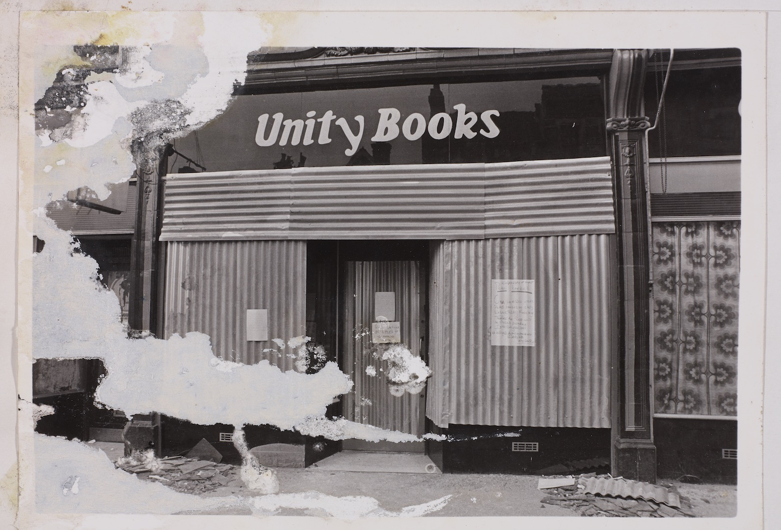 13 Racist attack on Unity Bookshop, Birmingham. c1970s. Huntley Archives at London Metropolitan Arch