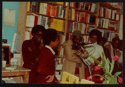 07 L to R - Ann Duncan, Valerie Bloom (performing) _ Imruh Bakari. Huntley Archives at London Metrop
