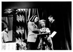 051 L to R - Benjamin Zephaniah (presenting award), Makeda Coaston _ Awardee (ACER Pen Awards). c198