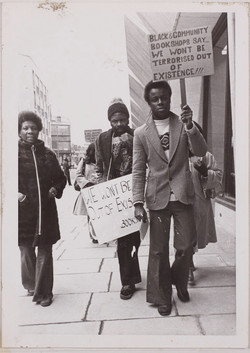 17 Demonstration about racist attack on black bookshops, London. c1980s. Huntley Archives at London