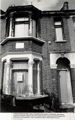 05 Racist attack on the Khan House, Walthamstow, East London. c1970s. Huntley Archives at London Met