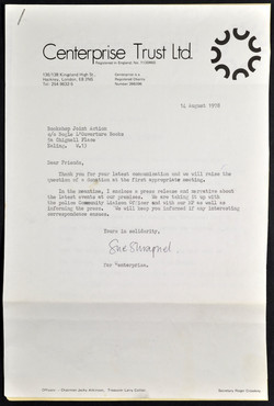 10 Letter of Support from Centerprise re Bookshop Joint Action. 14th Aug. 1978. Huntley Archives at